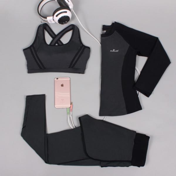 ヨガ フィットネス トレーニング 長袖Tシャツ+タンクトップ+重ね着風パンツ3点セット アンサンブル スポーツウェア ピラティス ジム ダンス ランニング シェイプアップ ダイエット xmn1702-3