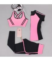ヨガ フィットネス トレーニング 半袖Tシャツ+タンクトップ+重ね着風パンツ3点セット アンサンブル スポーツウェア ピラティス ジム ダンス ランニング シェイプアップ ダイエット xmn1702-6