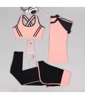ヨガ フィットネス トレーニング 半袖Tシャツ+タンクトップ+重ね着風パンツ3点セット アンサンブル スポーツウェア ピラティス ジム ダンス ランニング シェイプアップ ダイエット xmn1702-8