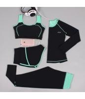 ヨガ フィットネス トレーニング 長袖Tシャツ+タンクトップ+重ね着風パンツ(取り外し可能)4点セット アンサンブル スポーツウェア ピラティス ジム ダンス ランニング シェイプアップ ダイエット xmn1705-1