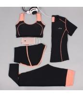 ヨガ フィットネス トレーニング 半袖Tシャツ+タンクトップ+重ね着風パンツ(取り外し可能)4点セット アンサンブル スポーツウェア ピラティス ジム ダンス ランニング シェイプアップ ダイエット xmn1705-4