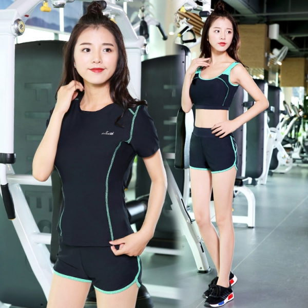 ヨガ フィットネス トレーニング 半袖Tシャツ+タンクトップ+重ね着風パンツ(取り外し可能)4点セット アンサンブル スポーツウェア ピラティス ジム ダンス ランニング シェイプアップ ダイエット xmn1705-6