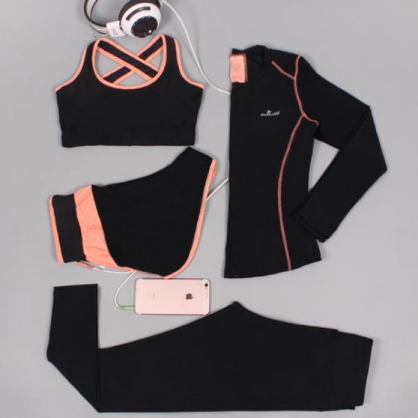 ヨガ フィットネス トレーニング 長袖Tシャツ+タンクトップ+重ね着風パンツ(取り外し可能)4点セット アンサンブル スポーツウェア ピラティス ジム ダンス ランニング シェイプアップ ダイエット xmn1706-3