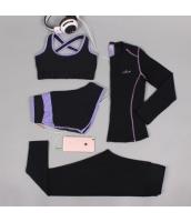ヨガ フィットネス トレーニング 長袖Tシャツ+タンクトップ+重ね着風パンツ(取り外し可能)4点セット アンサンブル スポーツウェア ピラティス ジム ダンス ランニング シェイプアップ ダイエット xmn1706-4