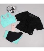 ヨガ フィットネス トレーニング 半袖Tシャツ+タンクトップ+ショートパンツ3点セット アンサンブル スポーツウェア ピラティス ジム ダンス ランニング シェイプアップ ダイエット xmn1709-1