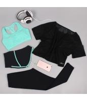 ヨガ フィットネス トレーニング 半袖Tシャツ+タンクトップ+重ね着風パンツ(取り外し可能)4点セット アンサンブル スポーツウェア ピラティス ジム ダンス ランニング シェイプアップ ダイエット xmn1709-3