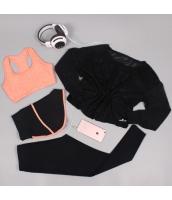 ヨガ フィットネス トレーニング 長袖Tシャツ+タンクトップ+重ね着風パンツ(取り外し可能)4点セット アンサンブル スポーツウェア ピラティス ジム ダンス ランニング シェイプアップ ダイエット xmn1709-5