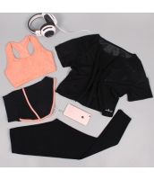 ヨガ フィットネス トレーニング 半袖Tシャツ+タンクトップ+重ね着風パンツ(取り外し可能)4点セット アンサンブル スポーツウェア ピラティス ジム ダンス ランニング シェイプアップ ダイエット xmn1709-6