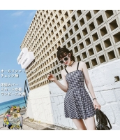 オールドファッション【ブルー】青格子チェック【スカート水着】お腹カバー【ワンピース水着】体型カバー  xsw10054-1