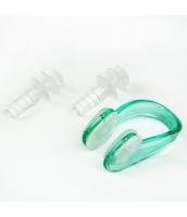 ビーチグッズ 競泳用ノーズクリップ&耳栓セット  クリアー/透明 グリーン/緑色 yd3007-1