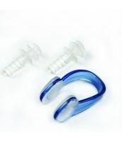 ビーチグッズ 競泳用ノーズクリップ&耳栓セット  クリアー/透明 ブルー/青色 yd3007-3