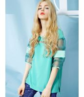 【即納】トレーナ スウェット 切替風シースルー七分袖 無地ゆったり-yj0012【カラー:ライトグリーン】【サイズ:M】