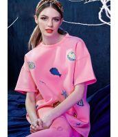 【即納】トレーナ スウェット 刺繍入りクルーネック 無地ゆったり-yj1776【カラー:ピンク】【サイズ:L】
