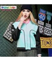 ジャケット 抽象画アートプリント柄 ノーカラージャケット ゆったり 長袖 ショート丈【ブルー/青色】[S,M,L,XL,2XL] yj4791-2