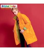 ガーベラレディース ボーダー スタンドカラー エナメル あったかい ダウンコート ミディアム丈 yj6363-1