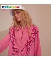 ガーベラレディース ゆったり 刺繍 純綿 シャツ チュニック 長袖 yj6533-1