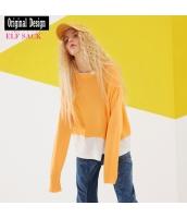 ガーベラレディース ニット・セーター セーター 長袖 重ね着風 ダメージ裾 yj8123-1