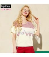 ガーベラレディース Tシャツ カットソー 半袖 パチワーク ワッペン 夏物 yj8442-1