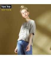 ガーベラレディース Tシャツ カットソー 半袖 ゆったり 綿質 春物 yj8449-1