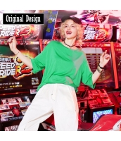 【Tシャツ】カットソー【五分袖】ヒップポップ系【春物】 yj8747-1