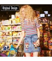 【ニットウェア】セーター【半袖】カラーボーダー【春物】 yj8749-1