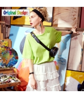 【Tシャツ】カットソー【半袖】純綿100%コットン【刺繍入り】夏物 yj8816-3