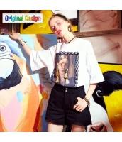【Tシャツ】カットソー【五分袖】ゆったり【レトロ調】夏物 yj8834-2
