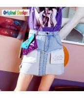 【デニムスカート】フレアスカート【膝丈スカート】フリンジ裾【イレギュラー裾】夏物 yj8837-1