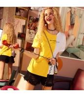 【Tシャツ】カットソー【半袖】文字入り【黄色い/白】イエロー/ホワイト【夏物】 yj8884-2