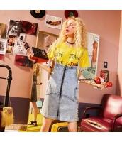 【Tシャツ】カットソー【半袖】文字入り【黄色い】イエロー【夏物】 yj8886-2