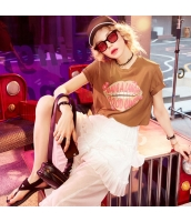 【Tシャツ】カットソー【半袖】純綿100%コットン【文字入り】コーヒー色【ブラウン】夏物 yj8887-1