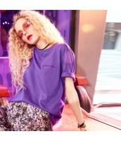 【Tシャツ】カットソー【半袖】純綿100%コットン【ゆったり】紫【パープル】夏物 yj8888-2