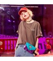 【Tシャツ】カットソー【半袖】ゆったり【褐色】ブラウン【刺繍入り】夏物 yj8890-1