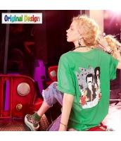 【Tシャツ】カットソー【半袖】ゆったり【緑】グリーン【刺繍入り】夏物 yj8890-2