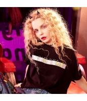 【Tシャツ】カットソー【半袖】ゆったり【純綿100%コットン】黒【ブラック】夏物 yj8893-1