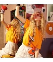 【Tシャツ】カットソー【半袖】ゆったり【文字入り】橙色【オレンジ】夏物 yj8894-1