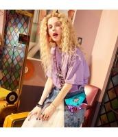 【Tシャツ】カットソー【半袖】ゆったり【文字入り】紫【パープル】夏物 yj8894-2