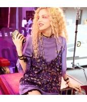 【Tシャツ】カットソー【半袖】ゆったり【レース】紫【パープル】夏物 yj8895-2