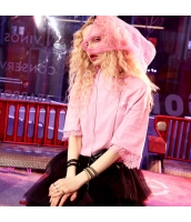 【Tシャツ】カットソー【半袖】ゆったり【レース】桃色【ピンク】夏物 yj8895-3