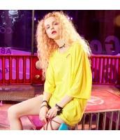 【Tシャツ】カットソー【半袖】ダメージ入り【黄色い】イエロー【夏物】 yj8896-2
