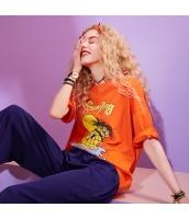 【Tシャツ】カットソー【半袖】ゆったり【橙色】オレンジ【夏物】 yj8898-1