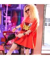 【Tシャツ】カットソー【半袖】ゆったり【文字入り】レース【赤】レッド【夏物】 yj8904-1