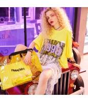 【Tシャツ】カットソー【半袖】ゆったり【文字入り】レース【黄色い】イエロー【夏物】 yj8904-2