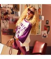 【Tシャツ】カットソー【半袖】ゆったり【文字入り】紫【パープル】夏物 yj8906-1
