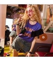 【Tシャツ】カットソー【半袖】紫【パープル】夏物 yj8907-2