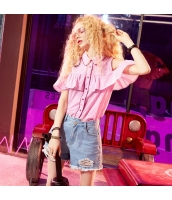 【シャツ】半袖【カットアウトショルダー】チェック柄【桃色】ピンク【夏物】 yj8915-1