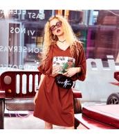 【ひざ下丈ワンピース】七分袖【Aラインワンピース】ゆったり【フード付き】褐色【ブラウン】夏物 yj8916-1