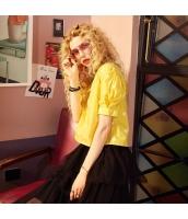 【ブラウス】半袖【ゆったり】黄色い【イエロー】夏物 yj8918-2