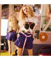 【ショートパンツ】ホットパンツ【ゆったり】紫【パープル】夏物 yj8928-2