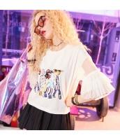 【Tシャツ】カットソー【半袖】ワイド袖【ゆったり】白【ホワイト】夏物 yj8935-1